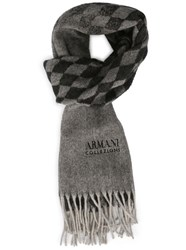 Armani Collezioni Grey And Black Shades Ac Logo And Diamond Cashmere Wool Scarf