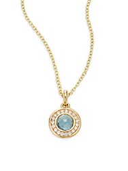 Ippolita Lollipop Diamond London Blue Topaz And 18K Yellow Gold Pendant Necklace