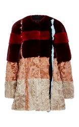 Jo No Fui Intarsia Xiangao And Lapin Fur Overcoat Red