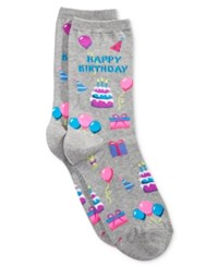 Hot Sox Women's Happy Birthday Socks Sweatshirt Grey Heather