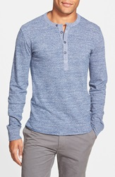 Grayers 'Todd' Long Sleeve Slub Henley Heather Blue Double Check Nrf