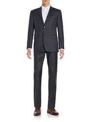 Lauren Ralph Lauren Two Button Wool Windowpane Suit Grey