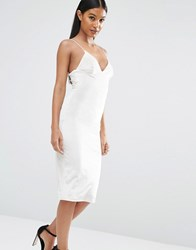 Club L Velvet Cami Strap Midi Dress White
