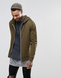 Asos Zip Up Hoodie In Brown Saddle Brown