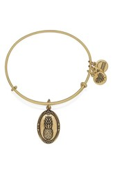 Women's Alex And Ani 'Pineapple' Adjustable Wire Bangle Gold