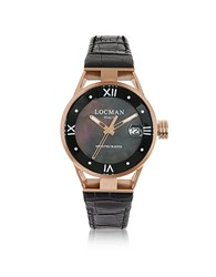Locman Montecristo Stainlees Steel And Titanium Rose Gold Pvd Women's Watch W Croco Embossed Leather Strap Black