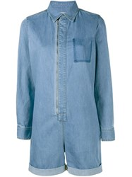 Stella Mccartney Long Sleeve Denim Playsuit Blue