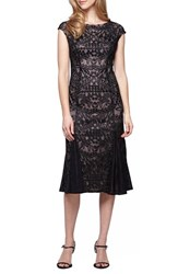 Alex Evenings Women's Embroidered Tulle Midi Dress