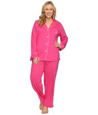 Lauren Ralph Lauren Plus Size Classic Notch Collar Pajama Pink Ivory Piping Women's Pajama Sets
