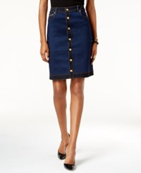 Inc International Concepts Petite Button Front Denim Skirt Only At Macy's Indigo