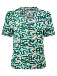 Eastex Painterly Leaf Jersey Top Neutral