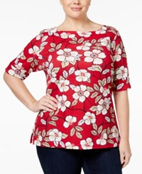 Karen Scott Plus Size Floral Print Boat Neck Top Only At Macy's New Red Amore