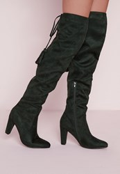 Missguided Heeled Knee High Tie Back Boots Green Green