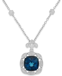 Macy's London Blue Topaz 7 Ct. T.W. And Diamond 1 7 Ct. T.W. Pendant Necklace In Sterling Silver