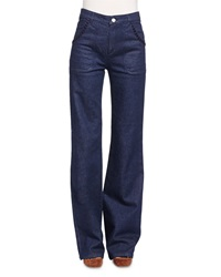See By Chloe Embroidered Wide Leg Denim Jeans Indigo