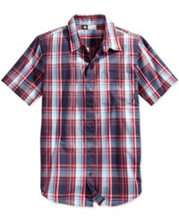 Lrg Men's Big And Tall Rc Plaid Poplin Short Sleeve Shirt Navy