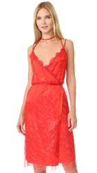 Nina Ricci Sleeveless Coated Lace Dress Red Orange