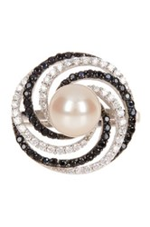 8 8.5Mm White Pearl White And Black Cz Pearl Ring