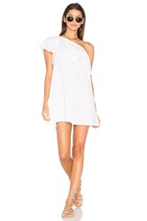 Milly Crinkle Cotton One Shoulder Cover Up White
