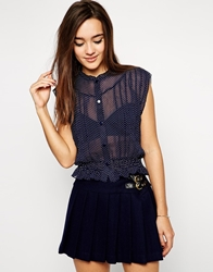 Lovestruck Melina Crop Shirt In Polka Dot Navy