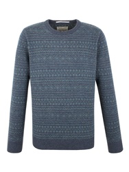Racing Green Square All Over Fairisle Sweater Blue