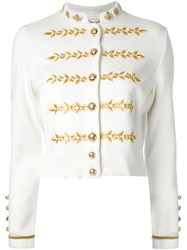 Muveil Floral Embroidered Military Jacket White
