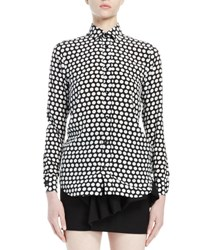 Saint Laurent Polka Dot Print Silk Blouse Black White Black White