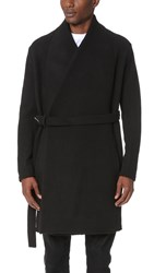 Damir Doma Chopino Heavy Felted Wool Wrap Coat Coal