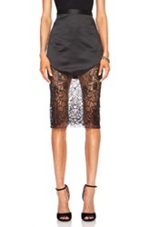 Lover Lotus Pencil Poly Skirt In Black Floral