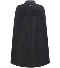Miu Miu Virgin Wool Cape With Lace Applique Blue