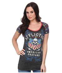 Affliction Whiskey Sour Short Sleeve Raglan Tee Black Navy Red Burnout Women's T Shirt Gray