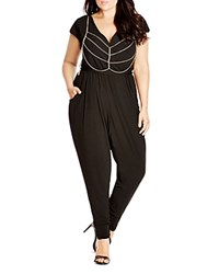 City Chic Chain Embellished Jumpsuit Black