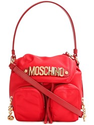 Moschino Logo Plaque Backpack Tote Red