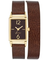 Nine West Women's Chocolate Brown Imitation Leather Double Wrap Strap Watch 22X31mm Nw 1954Bnbn