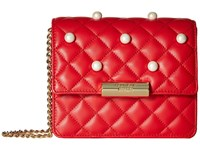 Boutique Moschino Quilting And Pearls Crossbody Red 0115 Cross Body Handbags