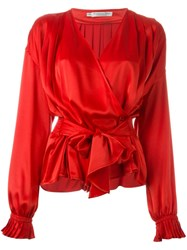 Christian Dior Vintage Wrap Blouse Red