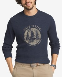 G.H. Bass And Co. Men's Thermal Knit Graphic Print Shirt Blue