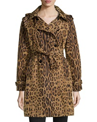Jane Post Leopard Print Trench Raincoat X