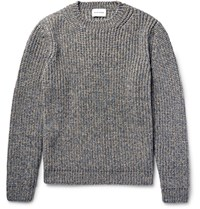 Solid Homme Melange Ribbed Knit Sweater Mushroom