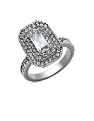 Michela Emerald Cut Crystal And Cubic Zirconia Ring Silver