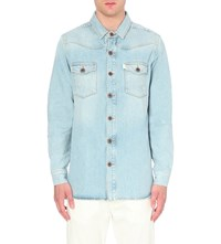 Off White C O Virgil Abloh Brushed Denim Shirt Bleach White