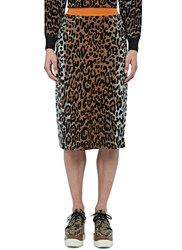 Stella Mccartney A Line Leopard Print Knit Skirt Brown