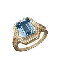 Lord And Taylor 14K Yellow Gold Blue Topaz Diamond Ring Blue Topaz Gold