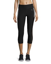 X By Gottex Colorblock Capri Performance Leggings Black Heather Charcoal