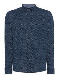Criminal Men's Taylor Geo Printed Shirt Navy