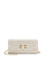 Saks Fifth Avenue Metallic Woven Convertible Clutch Silver