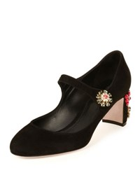 Dolce And Gabbana Suede Jewel Embellished Mary Jane Pump Black