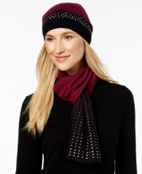 Rampage Rhinestud Ombre Beanie And Oblong Scarf Set Only At Macy's Purple Black Ombre