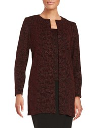 Alex Evenings Patterned Shimmer Tank And Cardigan Set Black Red