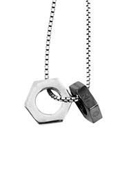 Tateossian Gunmetal Chain Bolt Necklace